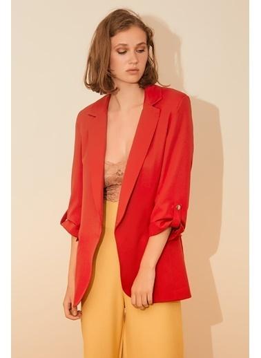 Reyon Çift Cep Kadın Blazer Ceket Kırmızı Kırmızı